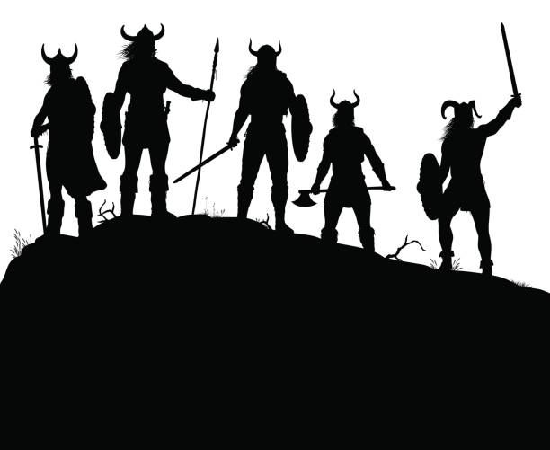 Viking raiders silhouette vector art illustration