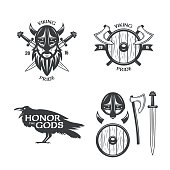 Viking related t-shirt graphics set. Vector vintage illustration.