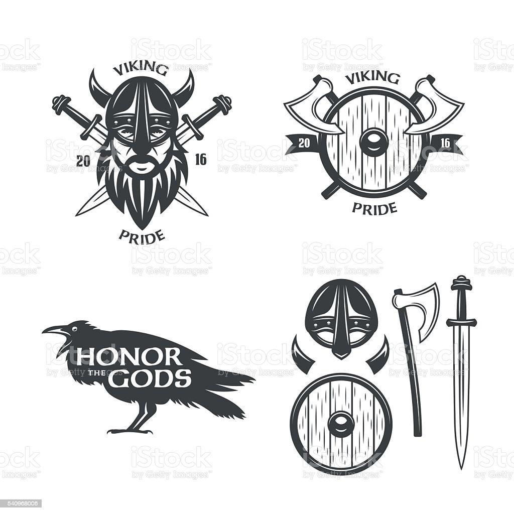 Viking related t-shirt graphics set. Vector vintage illustration. ベクターアートイラスト