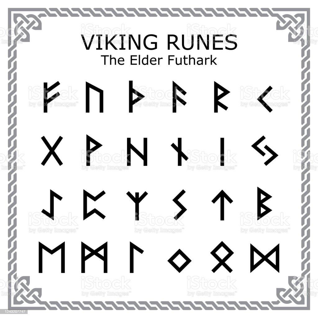 Viking Runes The Elder Futhark Alphabet Vektordesign In Keltischen ...