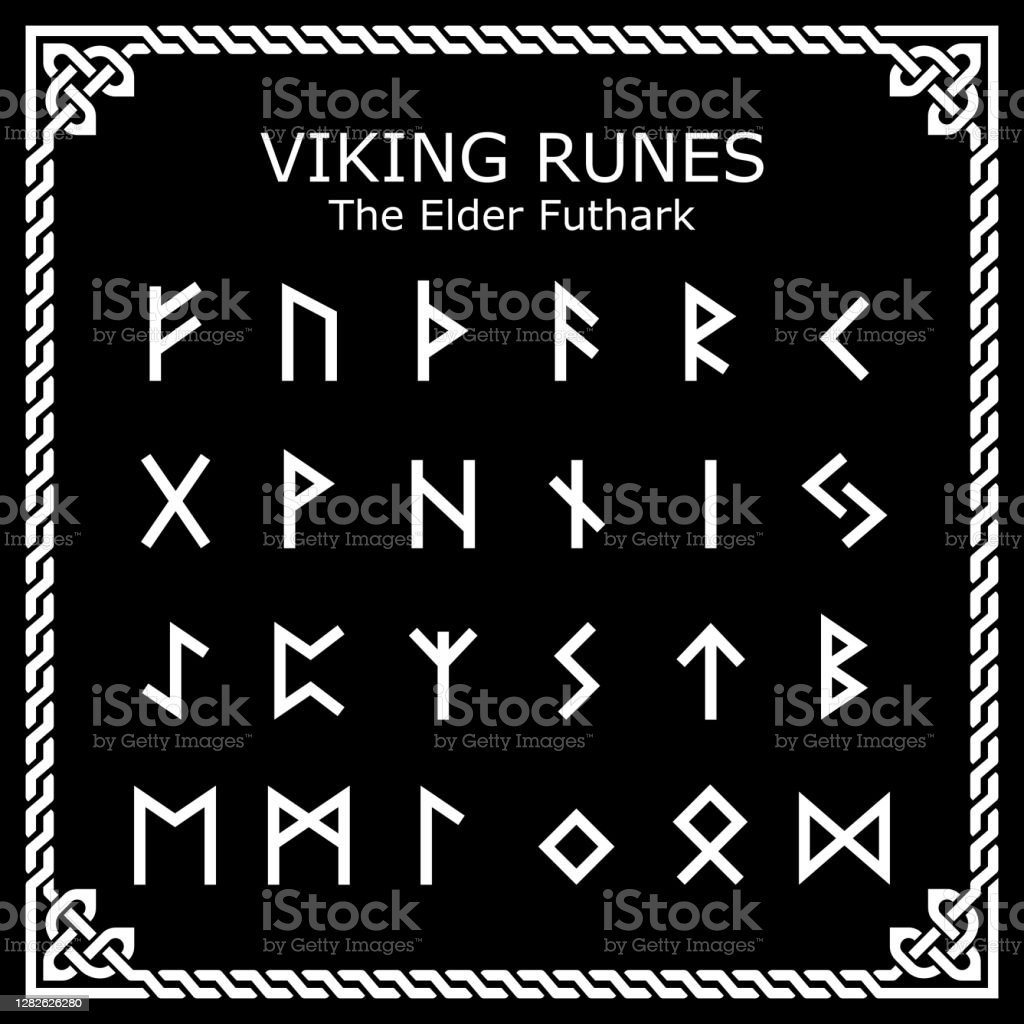 Viking Runen Der Elder Futhark Alphabet Vektordesign In Keltischen ...