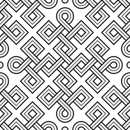 Viking Seamless Pattern - Engraved Gold - Squares - Ring Corners