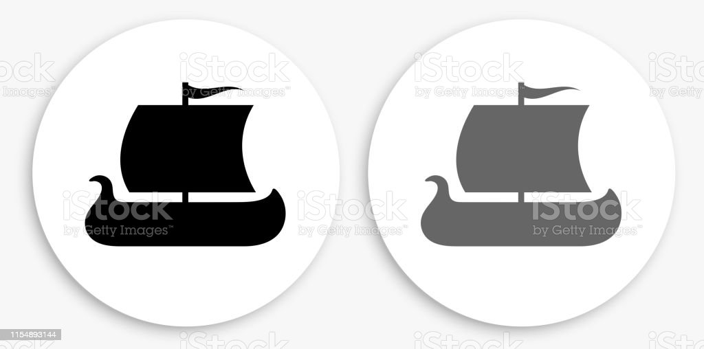Viking Ship Black and White Round Icon. This 100% royalty free vector...