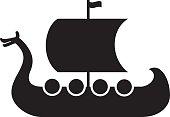 Viking ship flat Icon