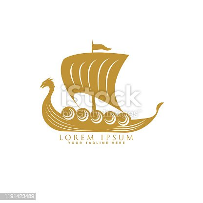 istock Viking ship floating logo design template 1191423489