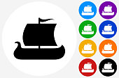 Viking Ship Icon on Flat Color Circle Buttons