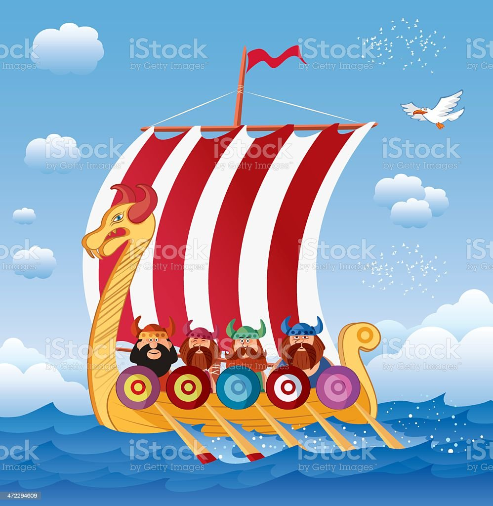 Viking Ship Stock Vector Art & More Images of Cartoon - iStock