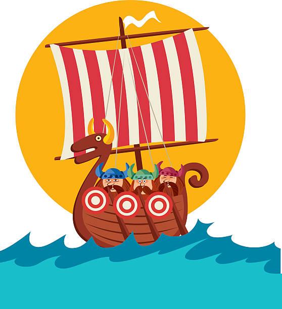bildbanksillustrationer, clip art samt tecknat material och ikoner med viking ships - summer sweden