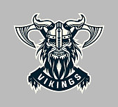 Viking skull head in helmet with horns and crossed axes - stylized vector emblem with replaceable text part