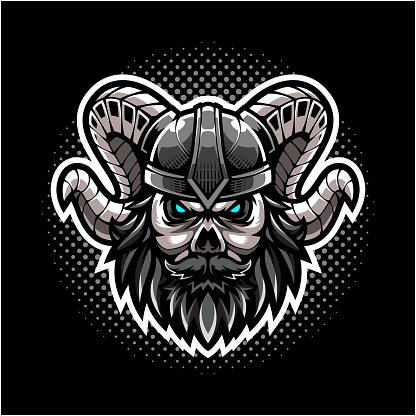 Viking skull head mascot