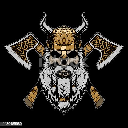 istock Viking skull illustration on black background 1180485960