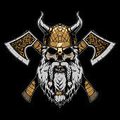 istock Viking skull illustration on black background 1180485960