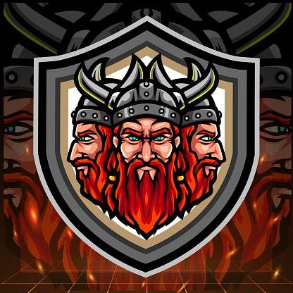 Viking triple head mascot. esport logo design