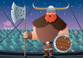 Cartoon Viking on board of Viking ship. No transparency used. Basic (linear) gradients.