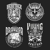 Viking vintage monochrome emblems