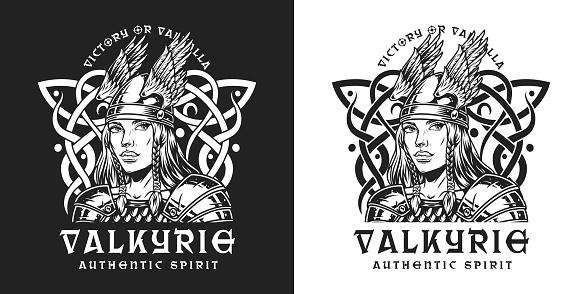 Viking vintage monochrome print