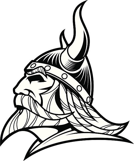 Viking Warrior Head B&W II vector art illustration
