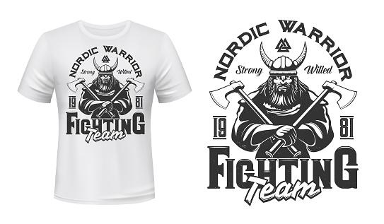 Viking warrior mascot t-shirt print vector mockup