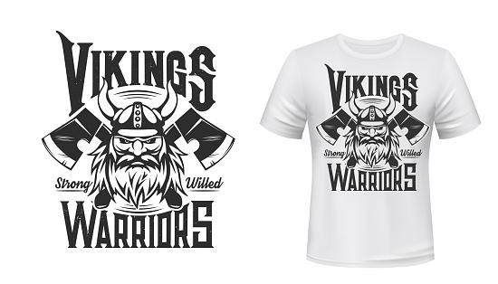 Viking warrior tshirt print, Scandinavian knight
