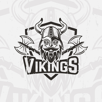 Viking warrior with a horned helmet and a beard sport team vector emblem, logo, label, viking face and two battle axe print for t-shirt
