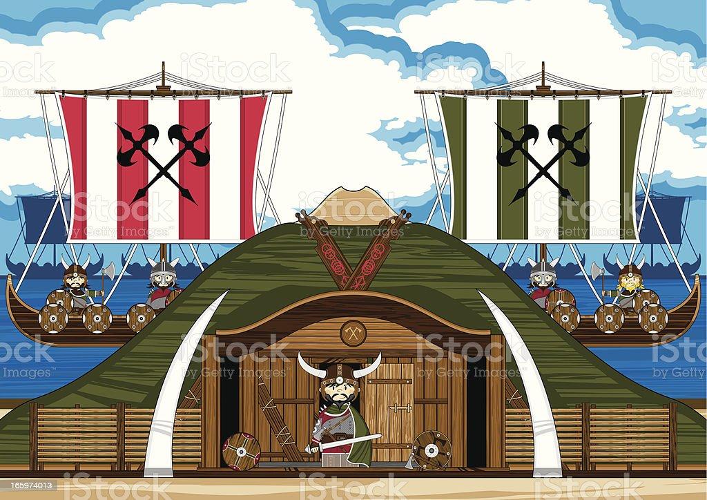 Viking Warriors And Ships Scene Stock Illustration ...