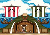 Vector illustration of cute Viking Warrior at house with Longships in the bay.