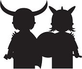 Vector illustration of Viking Warriors in Silhouette.