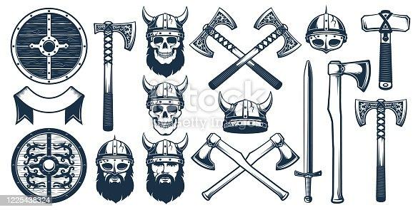 istock Viking weapon design elements for heraldic emblem 1225438324
