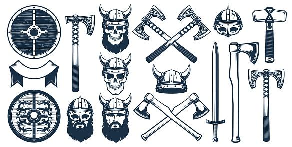 Viking weapon design elements for heraldic emblem
