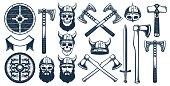 Viking weapon design elements for heraldic emblem. Warrior head in a viking helmet. Vector illustration in stamp style.