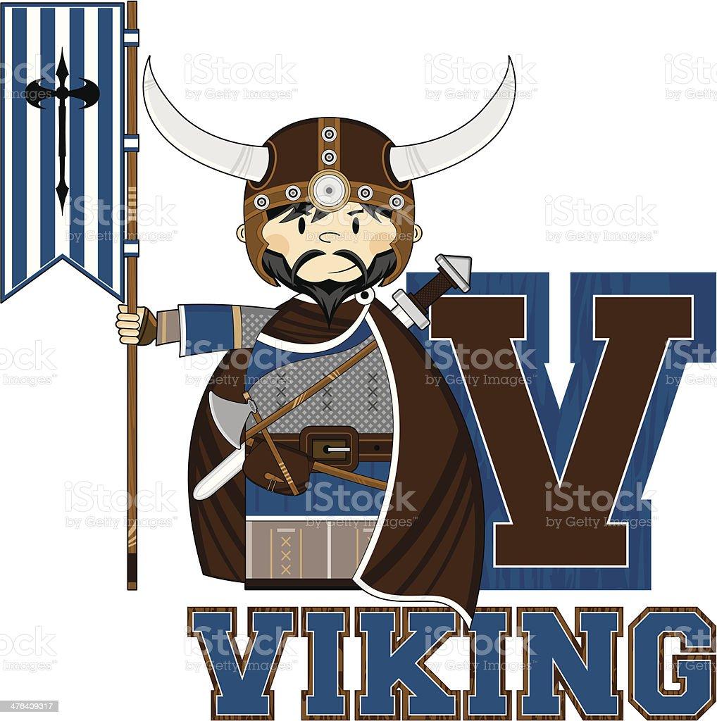 Viking with Banner Learning Letter V royalty-free viking with banner learning letter v stock vector art & more images of adult