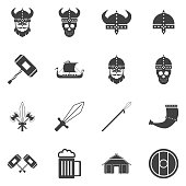 Vikings and Scandinavian items, the food, weapons flat icon set