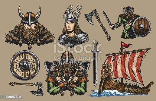 istock Vikings elements vintage colorful composition 1298957128