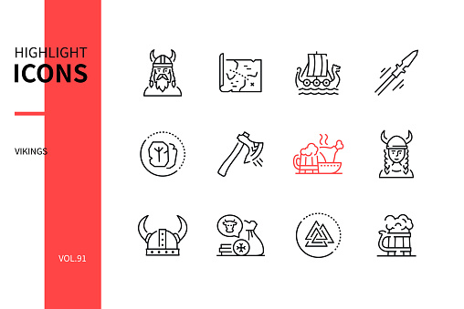 Vikings - modern line design style icons set. Scandinavian culture in medieval period, signs and symbols, history idea. Map, longboat, spear, runes, axe, feast, helmet, trade, mythology, ale images