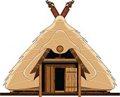Vector illustration of a Viking Hut with thatched roof.