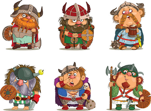 vikings - old man funny pictures stock illustrations