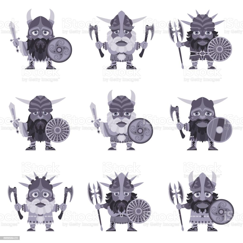 Vikings. Warriors with arms. Set.