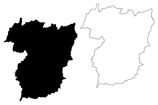 ilustrações de stock, clip art, desenhos animados e ícones de vila real district (portuguese republic, portugal) map vector illustration, scribble sketch vila real map - vila real