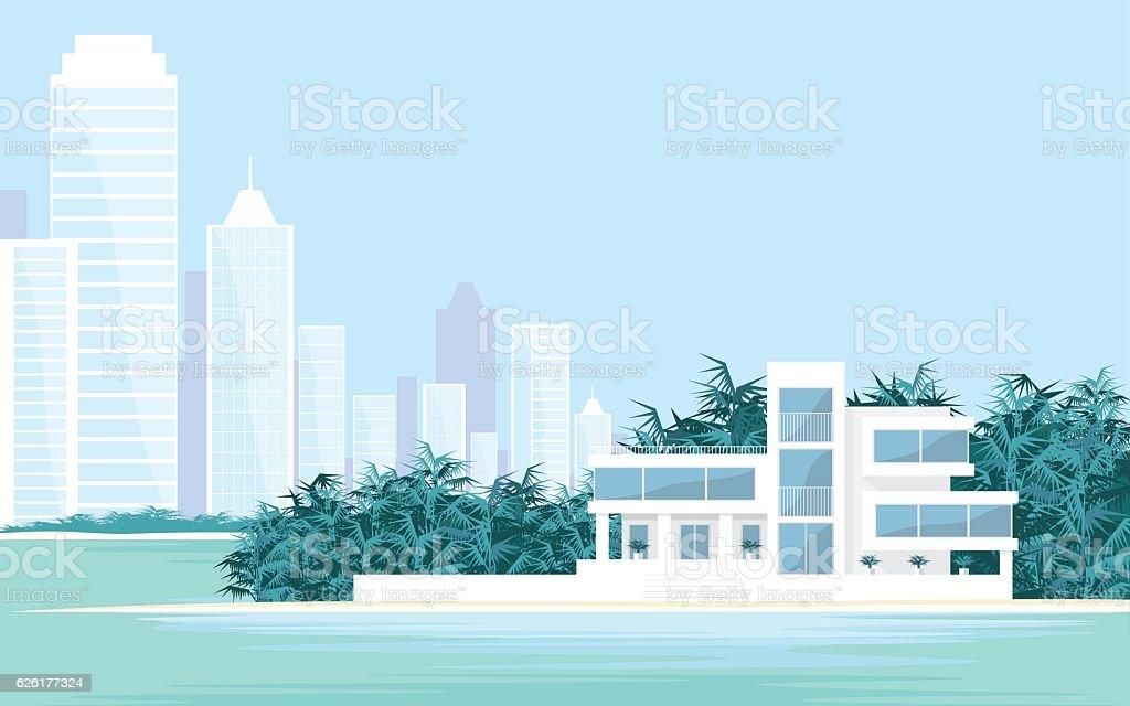 Villa and big city vector art illustration