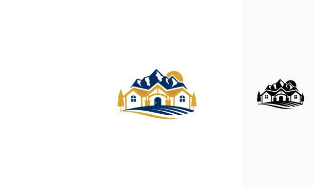 villa berg vektor icon logo - villas stock-grafiken, -clipart, -cartoons und -symbole