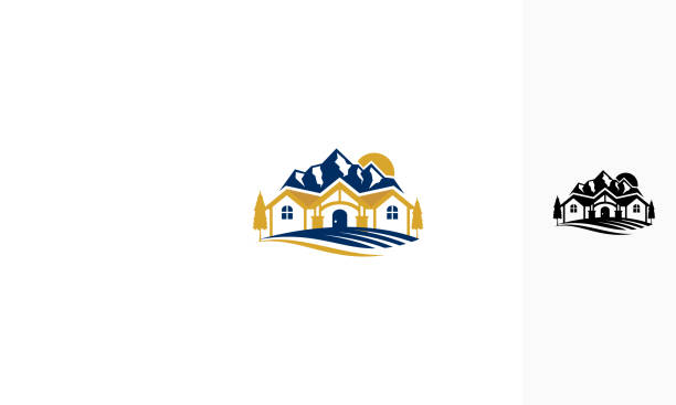 villa mountain vector icon logo For your stock vector needs. My vector is very neat and easy to edit. to edit you can download .eps. villa stock illustrations