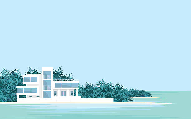 Villa on the beach Abstract image of a large, beautiful country house . Luxury Villa on the seafront, surrounded by palm trees. Vector background. villa stock illustrations