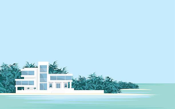 villa on the beach - villas stock-grafiken, -clipart, -cartoons und -symbole