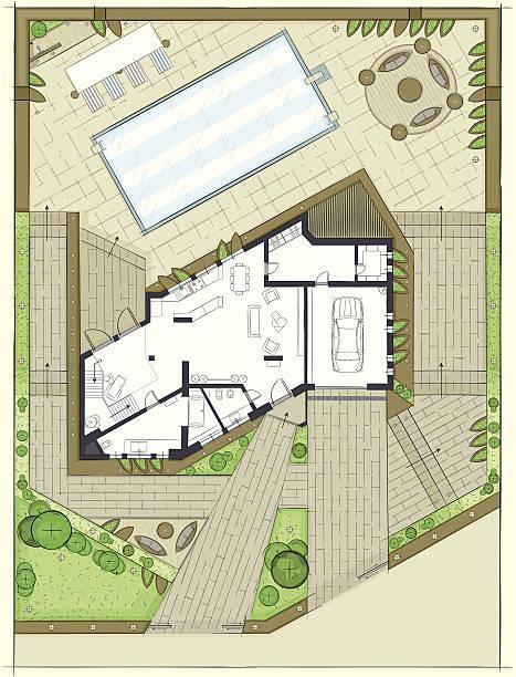 villa-plan - gartensofa stock-grafiken, -clipart, -cartoons und -symbole