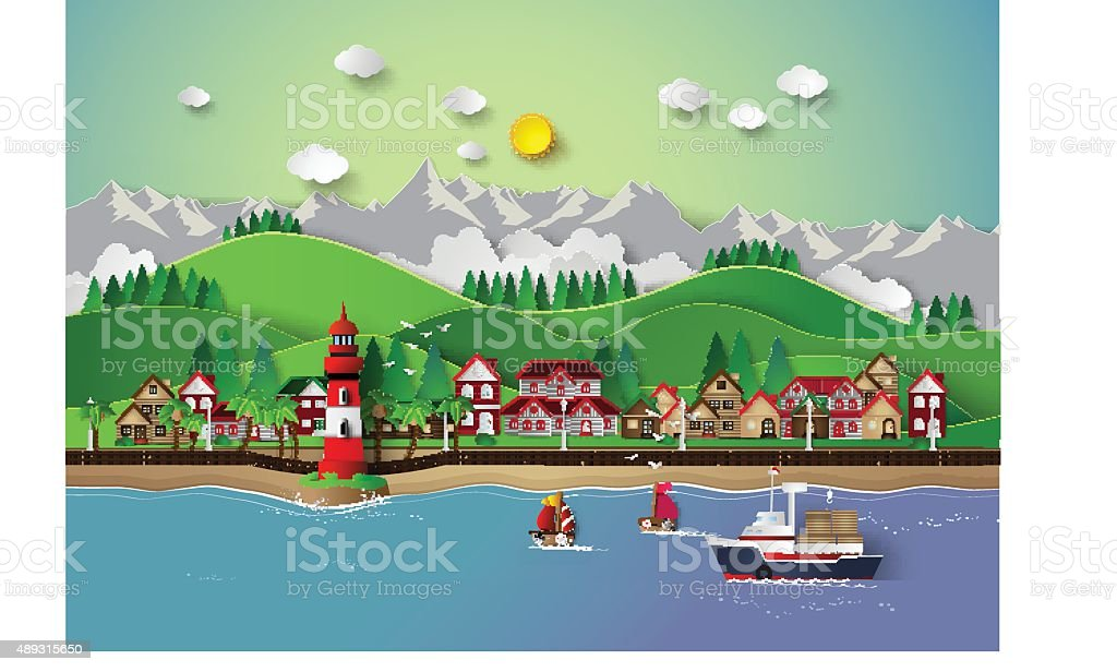 village and sea bay. vector art illustration