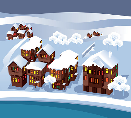 Village and snow