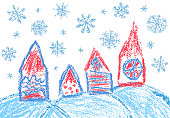 City town scape like child's drawing doodle cozy hut. Vector holiday winter background style