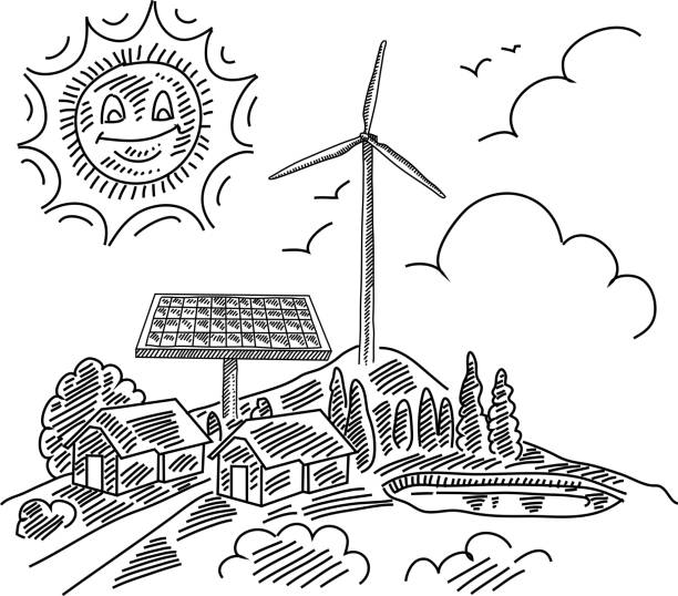 ECO Village Drawing Line drawing of ECO Village. it is single layered and grouped contains eps10 and high resolution jpeg. solar panels illustrations stock illustrations