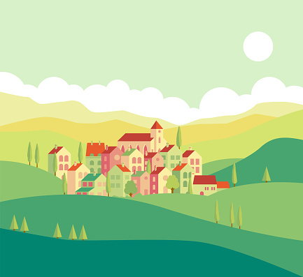 Vector illustration of quiet town houses in greenery.