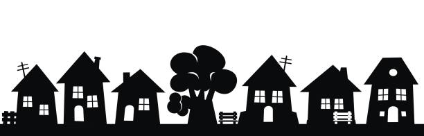 Village, group of houses and tree Village, group of houses and tree, black vector icon. Silhouette of houses with benches and pale. community borders stock illustrations
